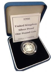 1998 Silver Proof One Pound Coin for sale